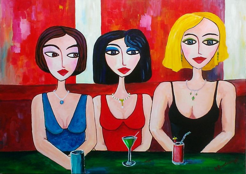 Three Women in a Cocktail bar